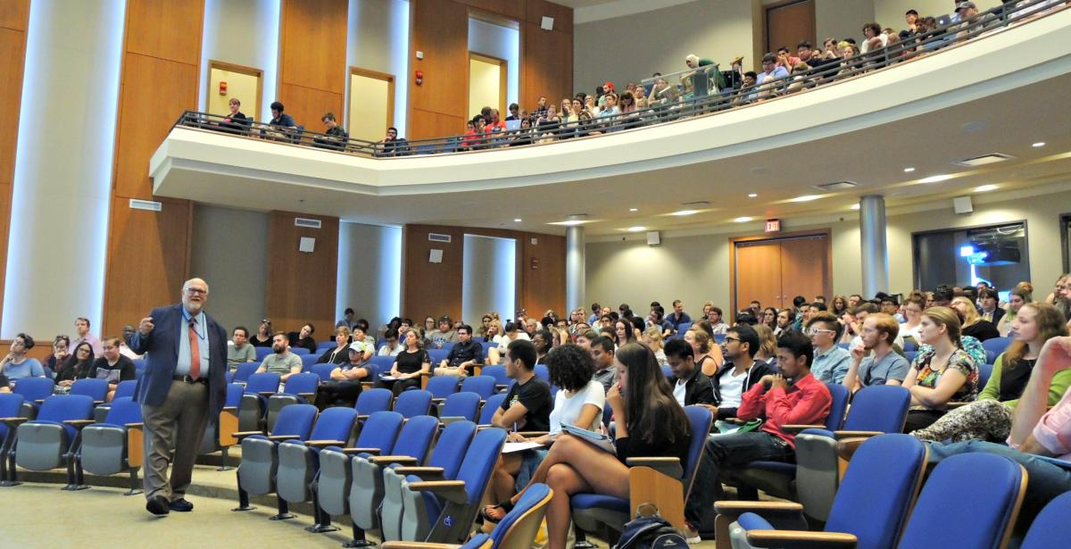 Dr. Joe McGillis, Academic Ombud, welcomes new TAs at the University-wide Orientation