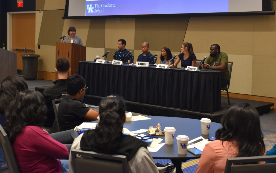 Angela Garner of the Graduate School and CESL Moderates a Panel During the Fall 2018 International TA Orientation
