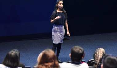 """Kanthi Nuti, recipient of the People's Choice Award for GradTeach Live!, presents """"Play of Chemistry""""."""
